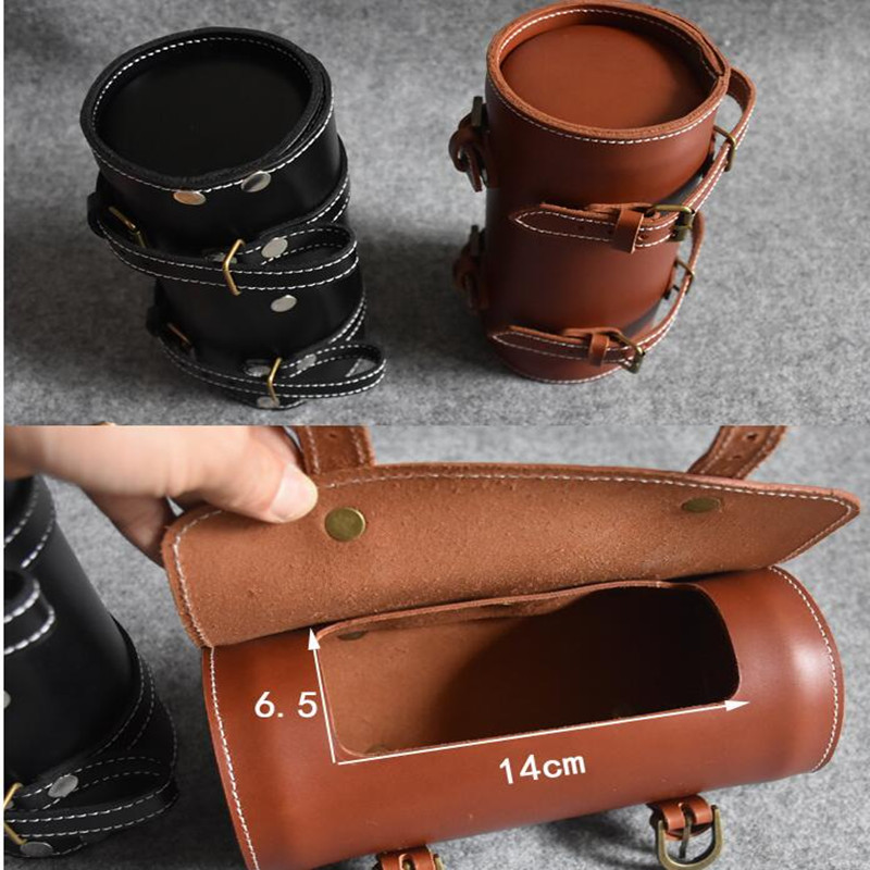 Q1105 Bicycle Retro bags Premium 100 Leather first layer bike locomotive tail bag British retro cylinder manual leather bag in Bicycle Bags Panniers from Sports Entertainment