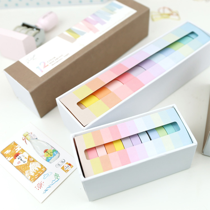 12 Pcs/lot 7.5 x 3m Rainbow Decorative Adhesive Tape Masking Washi Tape Decoration Diary School Office Supplies Stationery 15 pcs lot cloth adhesive tape masking japanese tape cotton decorative scrapbooking stickers novelty school supplies