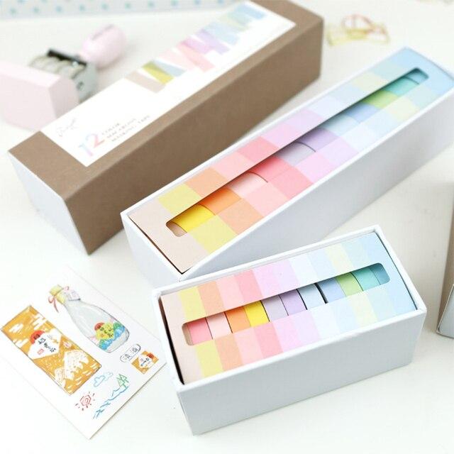 12 piunids/lote 7,5x3 m arco iris decorativo cinta adhesiva enmascarar Washi cinta decoración diario escuela Oficina suministros papelería