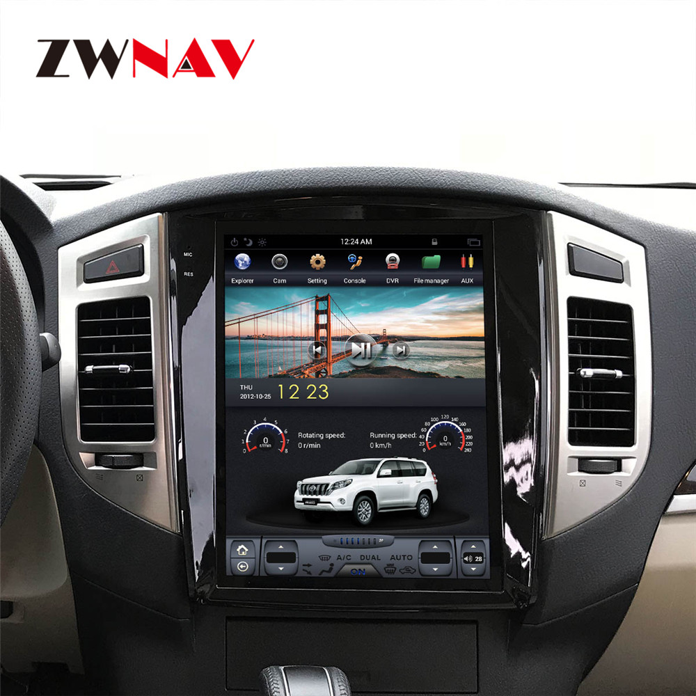 ZWNVA Tesla IPS de 12,1 pulgadas de pantalla Android 7,1 coche DVD Player navegación GPS para MITSUBISHI PAJERO V97 V93 2006 -2017 Unidad de