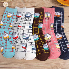 Hot Funny Harajuku Milk Plaid stripe Print Cotton Girls boys socks 2018 New women Fashion
