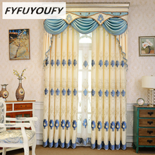 European Embroidered Blackout Curtains for Living Room with luxury Voile Curtain for Bedroom Window the curtains in the kitchen