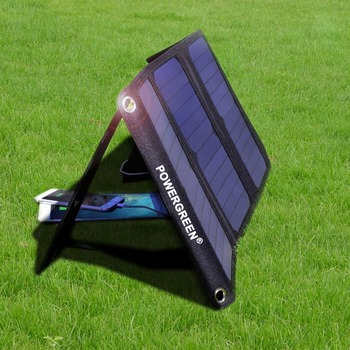PowerGreen Solar Battery Backpack Bag Foldable 21 Watts 5V 2A Power Bank Phone Charger Solar Panel for Cellphones