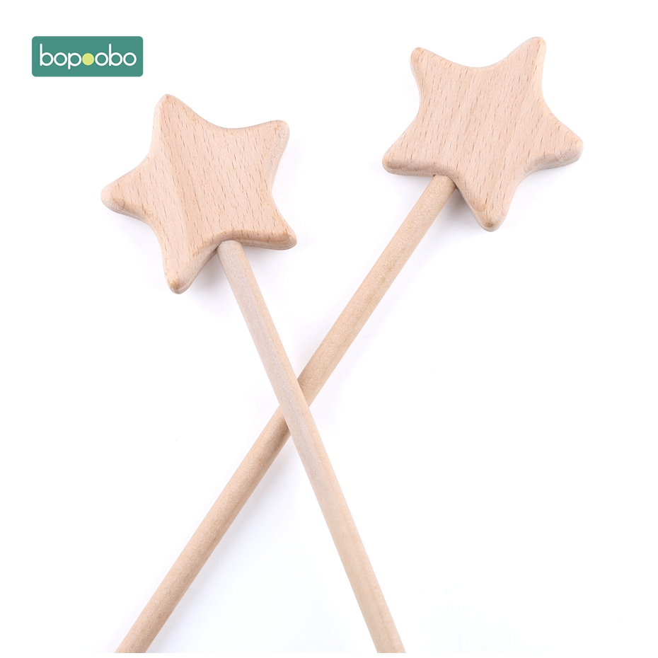 Bopoobo Baby Toys 2pcs Beech Wooden Star Teething Montessori Toys Waldorf Toy Baby Wooden Baby Teething Play Gym Baby Rattle in Teethers from Toys Hobbies