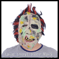 Color Hair Angry Zombie Demon Full Head Mask Latex Devils Scary Mask Halloween Prank Prop For