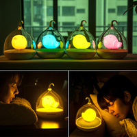Oobest New Lovely Birdcage LED Night Light Rechargeable Sound Control Induction Night Lamp For Baby Home