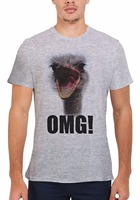 Tailored Shirts Crew Neck New Style Ostrich OMG Scream Funny Novelty Men Unisex Top T Shirt