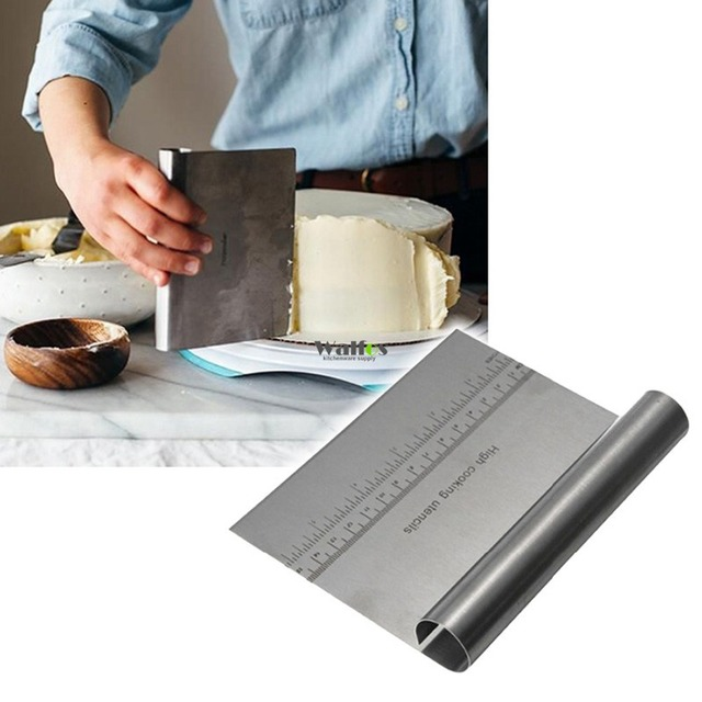 Stainless Steel Smoother Edge Cake Scraper, Pizza Dough Scraper Cutter, Kitchen Flour Pastry, Icecream Cake Tool Scale