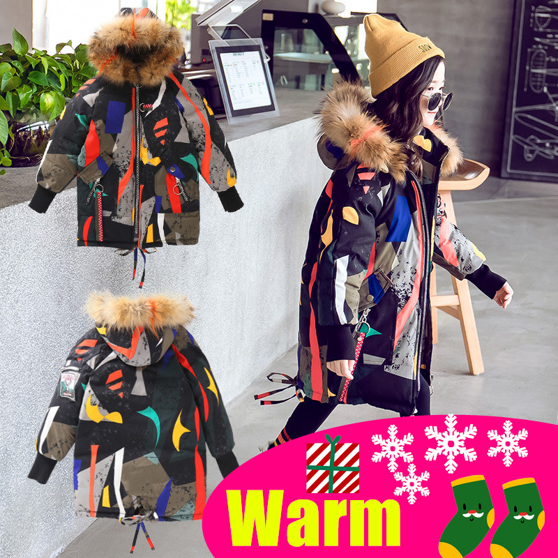 Girls Cotton padded Winter Jackets Children Warm Big Fur Hooded Outerwear Coats Children's Fashion Long Thick Jacket Coat-in Down & Parkas from Mother & Kids