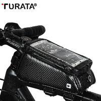 TURATA Bicycle Front Upper Tube Waterproof Bag Bike Mobile Phone Holder Support for iPhone/Samsung/xiaomi/huawei Smartphones GPS