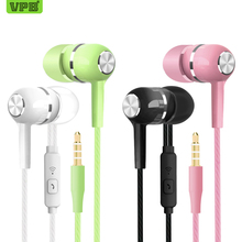 VPB S12 Sport Earphone wholesale Wired Super Bass 3.5mm Crack Colorful Headset Earbud with Microphone Hands Free for Samsung(China)