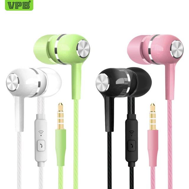 VPB S12 słuchawki sportowe hurtownie przewodowy Super Bass 3.5mm Crack kolorowy zestaw słuchawkowy wkładka douszna z mikrofonem bez użycia rąk do Samsung
