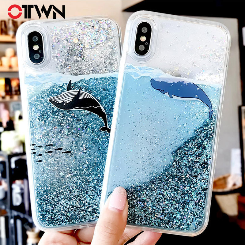 Ottwn Cartoon Dolphin Quicksand Phone Case For iPhone X 8 7 6 6s Plus Dynamic Glitter Sequins Back Cover Cases For iPhone 8 Plus iphone xr case magnetic