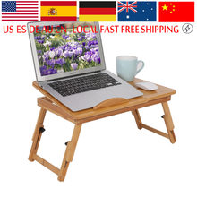 1Pc Adjustable Bamboo Laptop Stand Portable Laptop Table with anti-slip baffle and timely heat emission Laptop Bed Lap Desk(China)