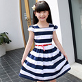 Children Navy Striped Dress For Girls Clothing Short Sleeve Princess Party Dress Summer Kids Prom Dress 6 8 10 12 Years Vestidos
