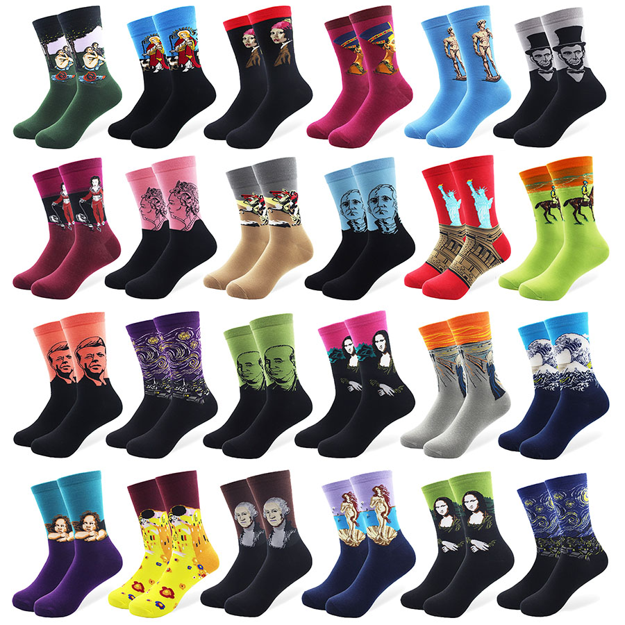 Men's Socks Delicious 1 Pair Male Cotton Socks Colorful Striped Jacquard Art Socks Multi Pattern Long Happy Funny Skateboard Socks Mens Dress Sock Street Price