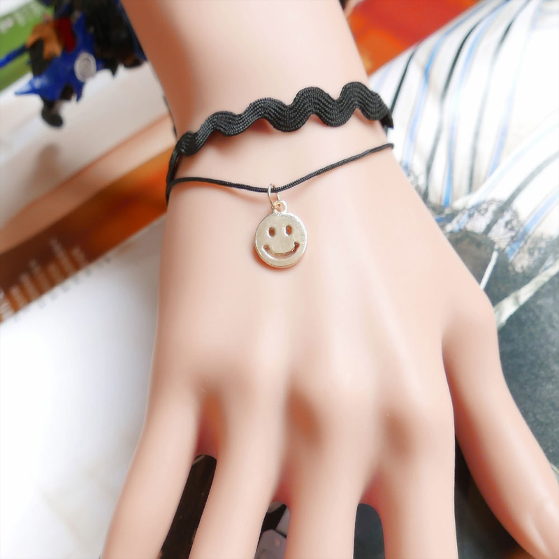 JOYESWING Wholesale Fashion Gothic Black Lace Bracelet for Women Charms Cute Smile Face Alloy Jewelry Femme Double Layer Bangles