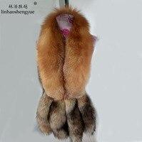 Linhaoshengyue новый красный меховой воротник лисы