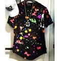 T Camisa longa Moda Verão Respingo de tinta t-shirt Dj Hip Hop tees Espinhel Com Splatter Da Pintura