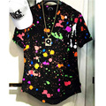 T Shirt long Summer Fashion Splash ink t-shirt Dj Hip Hop Longline tees With Paint Splatter