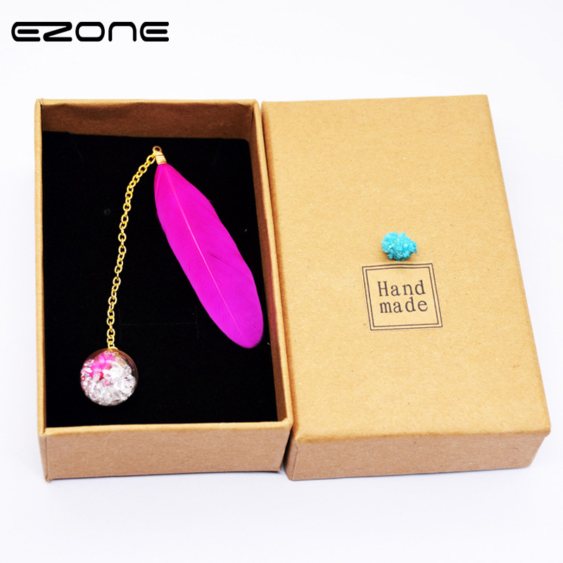 EZONE 1PC Vintage Feather Bookmark Crystal Ball Pendant Bookmark Gift For Friends Students Stationery School Supply Student Gift