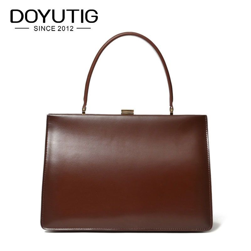 DOYUTIG Business Style Big Genuine Leather Handbags For Women High Quality Female Large Capacity Business Lady Square Totes F616