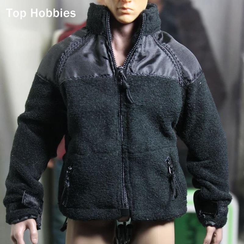 1/6 scale Polartec P300 Men's Black velvet Coat Jacket Clothes Zip Fleece Thermal For 12Phicen Action Figure Not include Pants zip 6 sh2073