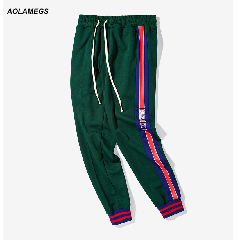 Aolamegs Men Track Pants Side Stripes Fashion Vintage Men's Casual Sweatpants Drawstring Elastic Waist High Street Jogger Pants