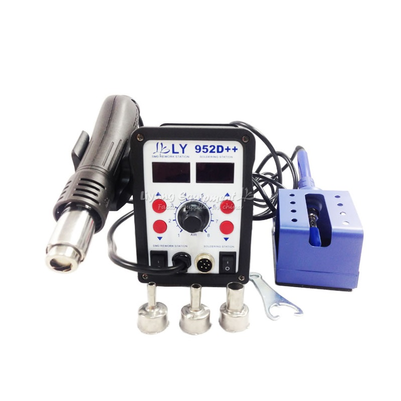220V/110V Lead free dual LED SMD soldering Station LY 952D++ Hot air electric soldering iron 2 in 1 yihua 898d led digital 700w lead free smd desoldering soldering station hot air soldering station