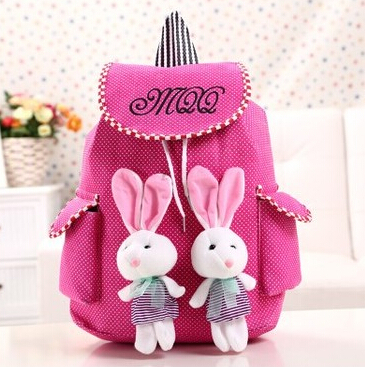 Cute Baby Girl's Backpacks Fashion Students Canvas Two Rabbit Toy ...