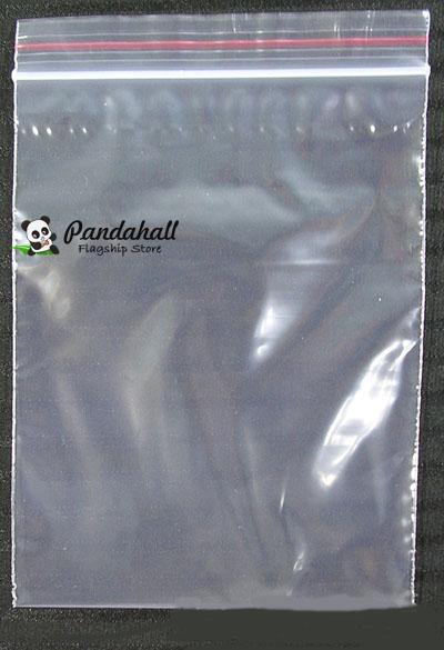 Pandahall Zip Lock Bags, Rectangle, Clear, 10x7cm; Unilateral thickness: 0.023mm