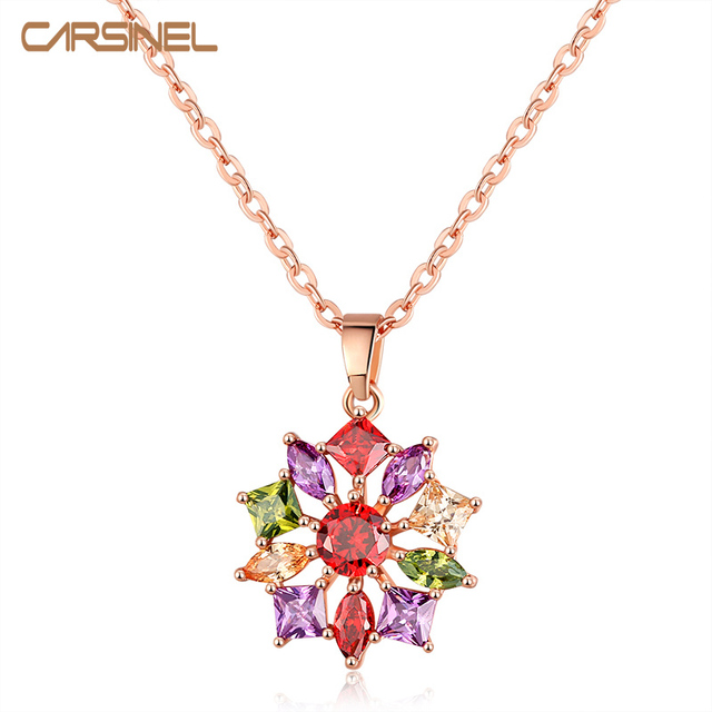 CARSINEL Rose Gold Color Necklaces Pendants With Multi AAA Cubic Zircon For Women Girlfriend Birthday Jewelry Gift NE0153