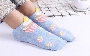 Image 3 - 500 pairs/lot summer women 3D cupcake cotton sock/cake print sock 5 color for choose