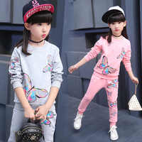 Butterfly print Girl casual suit Sweatshirt pants sets Children's leisure sports suit Children's Youth leisure suit 4-13years