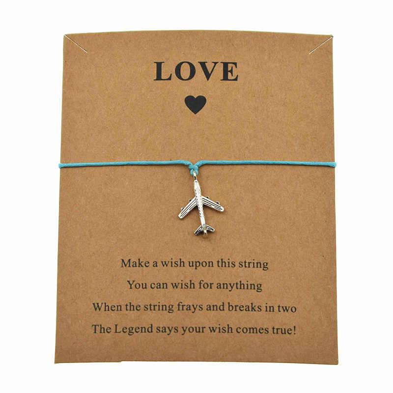 ファッションシルバー飛行機飛行機チャーム願い事愛カード調節可能なブレスレットのための飛行機のジュエリークリスマスギフト