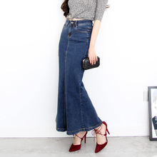 Free Shipping 2017 New Fashion Long Maxi Denim Jeans Skirts For Women Plus Size S-XL Mermaid Style Skirts Stretch Ladies Skirts