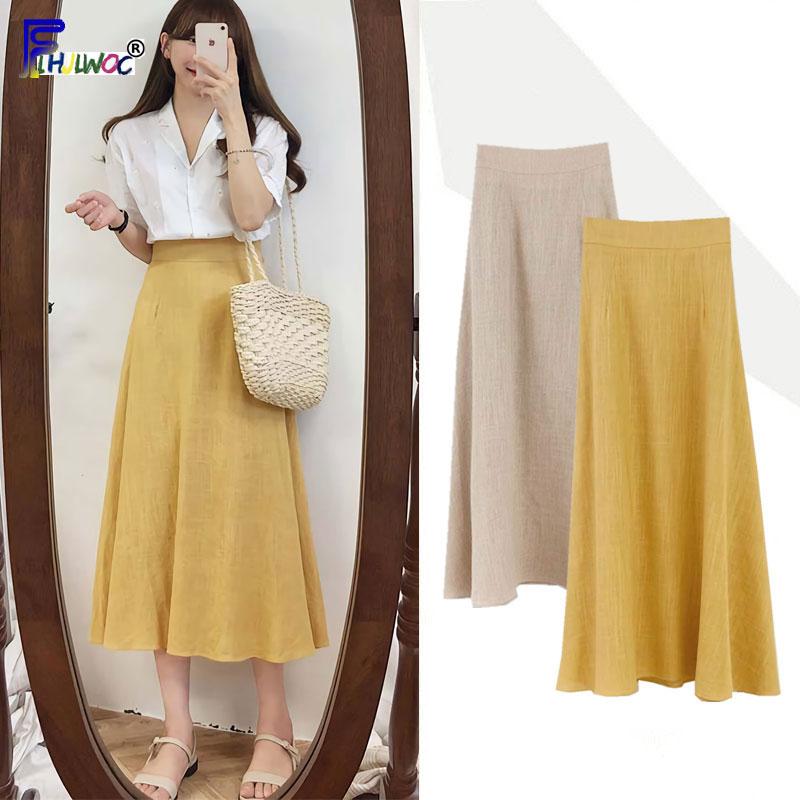 High Waist Skirts Vintage Women Preppy Style Sweet Girl Korea Japan Clothes Khaki Yellow Bow Tie Ribbon Skirt Long 7512