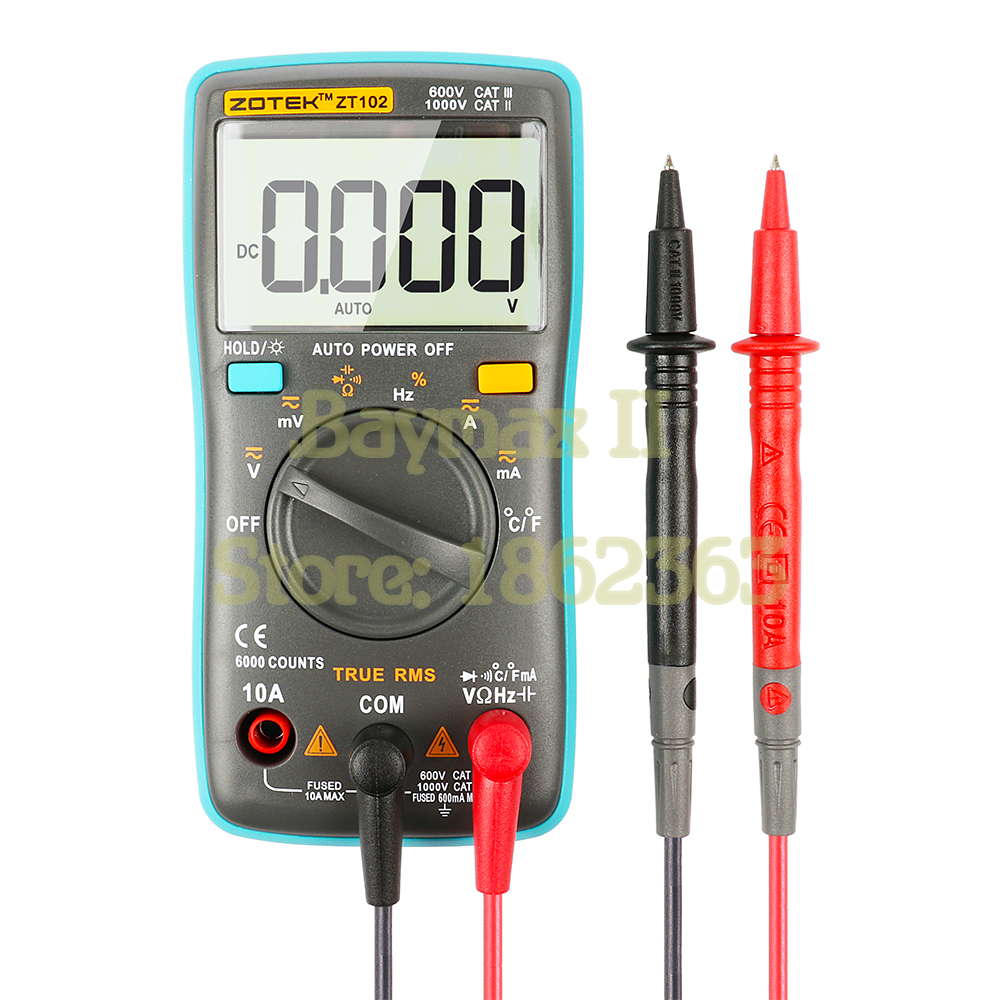 ZOTEK ZT102 Mini 6000 Counts Auto-Ranging Digital Multimeter AC/DC Voltage Current Tester with Temperature Measurement вентилятор напольный vitek vt 1949 w 45 вт