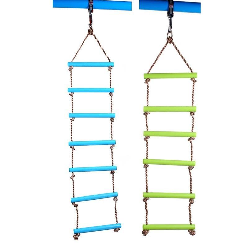 어린이 장난감 스윙 야외 실내 플라스틱 사다리 밧줄 놀이터 게임 등산 밧줄 스윙 플라스틱 6 Rungs PE Rope