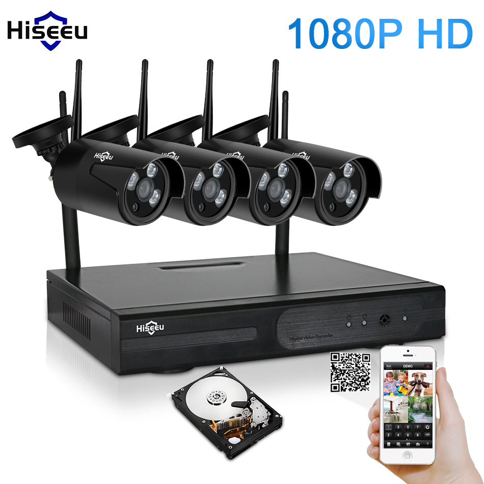 hiseeu 4ch 1080p hd outdoor ir night vision video surveillance security 4pcs ip camera 2mp wifi. Black Bedroom Furniture Sets. Home Design Ideas