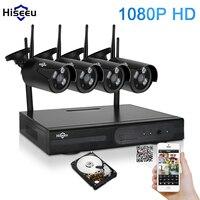 Hiseeu 4CH 1080P HD Outdoor IR Night Vision Video Surveillance Security 4pcs IP Camera 2MP WIFI