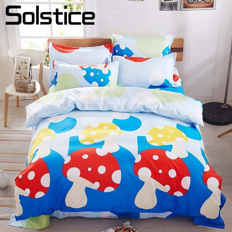 Solstice Home Textile Mushroom Cartoon Kids Child Bedding Sets Duvet Cover Pillowcase Bed Sheet Boy Girl Bedlinen King Twin Size