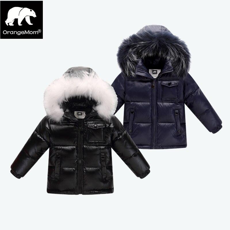 2018 hiver vers le bas veste parka pour filles garçons manteaux, 90% vers le bas de vestes enfants vêtements pour la neige porter enfants survêtement et manteaux
