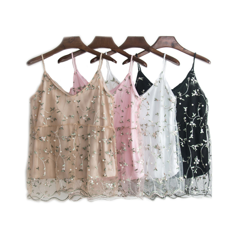 Litfun Summer Women Floral Embroidery   Tank     Tops   Sexy Mesh Pearl Bead Lace Pacthwork Vest Camis Female Pink Black White Short   Top