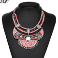 4 Colors Pink Cute Ethnic Choker Necklace Bohemian Woven Cherry Bib Necklace & Pendants Romantic Collier Women JURAN Jewelry