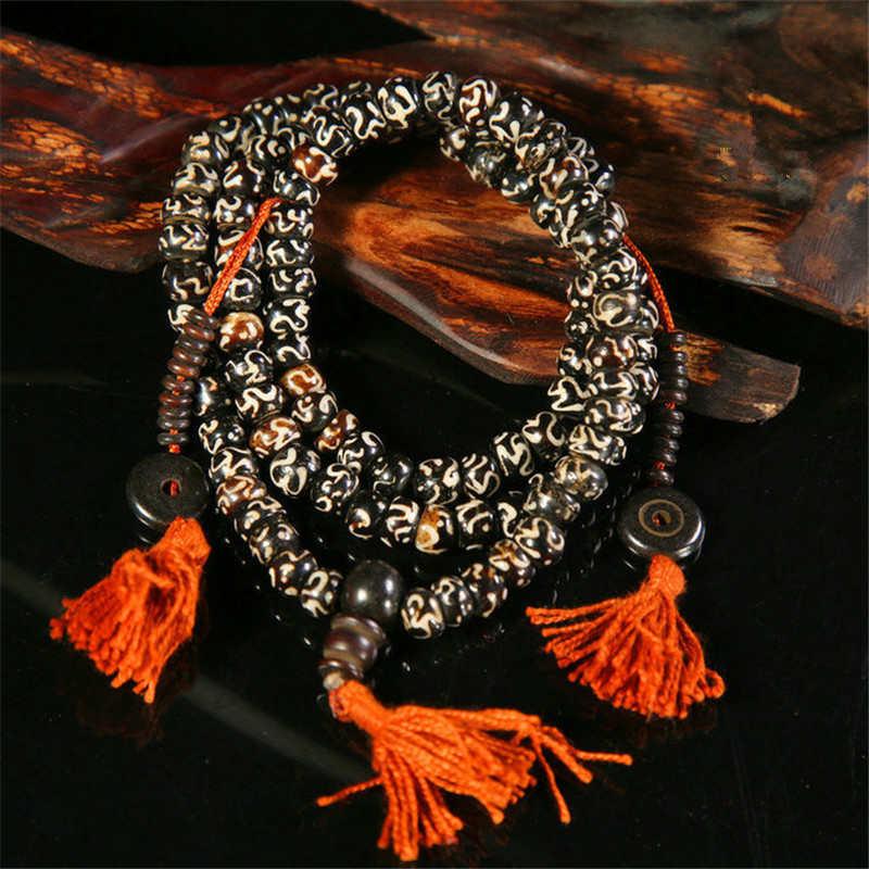 BRO952 Tibetan Buddhist 108 Yak Bone Rosary Necklace 8mm Tibet Painted OM mantras Prayer Mala
