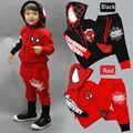 BCS194 Новая осень паук детская одежда набор мальчиков костюмы комплект одежды Толстовка С Капюшоном куртки + брюки детская Человек-Паук костюм розничная
