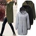 Zanzea mujeres camisetas de los hoodies 2017 de invierno de lana flojo ocasional larga chaqueta de abrigo de manga larga con cremallera con capucha prendas de vestir exteriores más tamaño