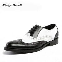 EUA 6-11 Homens Retro Couro Genuíno Fretwork Dedo Apontado Brogue Oxfords Da Ponta de Asa Preto e Branco Vestido Formal sapatos