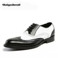 US 6 11 Men Retro Genuine Leather Black And White Fretwork Pointed Toe Oxfords Wing Tip